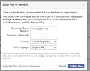 Facebook Page Verification with Phone Number