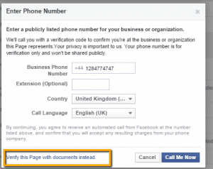 Facebook Page Verification with documents