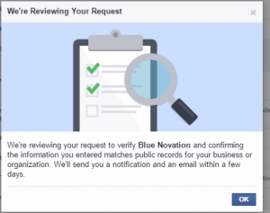 Reviewing Facebook Page Verification request with documents